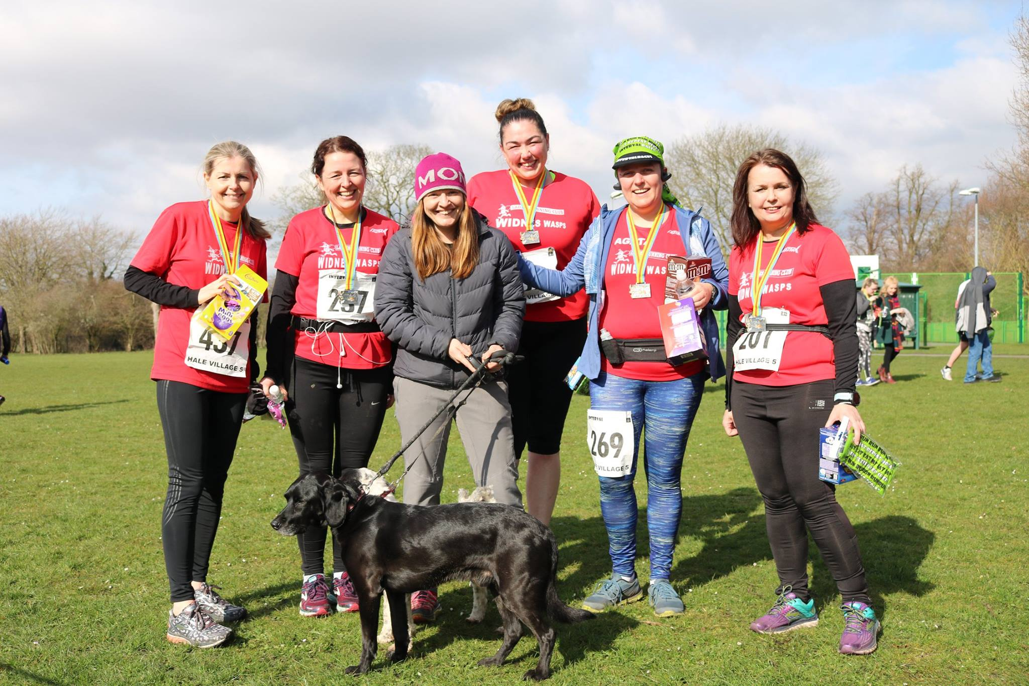Widnes Wasps Ladies Running Club - Race Standards - Finish Line pic with Medals